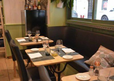 Bistro l'Olivier, tables et banquette